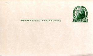 US Postcard Unaddressed, unused 1c Jefferson