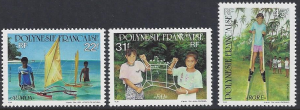 French Polynesia #599-601 MNH, set, Children's games, issued 1992