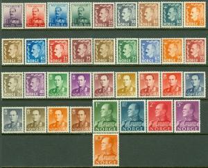 EDW1949SELL : NORWAY 1937-58 Sc #177-80, 310-17, 345-52, 360-74 VF MNH. Cat $267