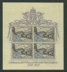 1951   VATICAN CITY  -  SG: MS176A  -  STAMP CENTENARY - UPU - UNMOUNTED MINT