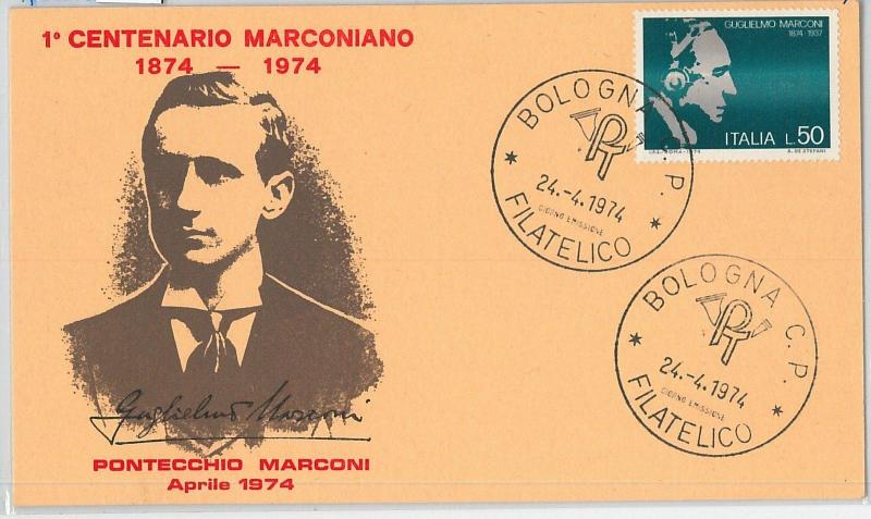 59158  -  ITALY - POSTAL HISTORY: FDC MAXIMUM CARD 1974  - MARCONI Radio