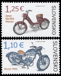 Slovakia. 2014. Technical Monuments. Historic Motorcycles (MNH OG) Set