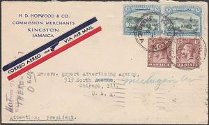 JAMAICA 1936 Airmail cover to USA -  nice franking.........................54783