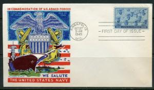 UNITED STATES 1945 NAVY  FLUEGEL  CACHETED UNADDRESSED  FIRST DAY COVER