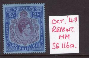BERMUDA GEORGE VI 2/- SG116a Oct. 40 Ptg. REPRINT hinged condition.Cat. £350.