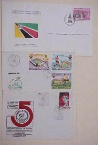 MOZAMBIQUE  FDC 3 DIFF. LIBERATION,SOCCER,OLYMPICS 1980-1981