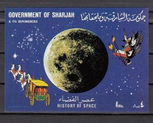 Sharjah, Mi cat. 705, BL69. History of Space s/sheet. ^