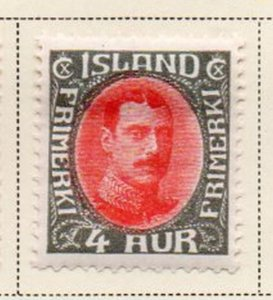 Iceland Sc 178 1931 4 aur gray & red Christian X stamp mint