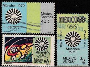 MEXICO 1047, C410-C411 Munich Olympic Games USED. F-VF. (255)
