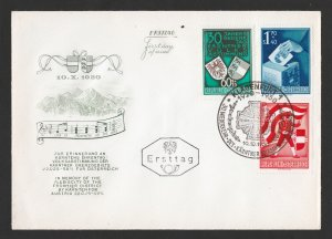 AUSTRIA SCOTT #B269-B271 ON SCARCE FIRST DAY COVER FDC MALTESE CROSS CANCEL 1950
