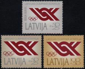 ✔️ LATVIA 1992 - OLYMPICS GOLD SILVER BRONZE - MI. 323/325 ** MNH OG [3.16.2]