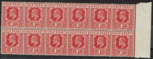 GOLD COAST 1907 KEVII 1D MNH ** BLOCK OF 12