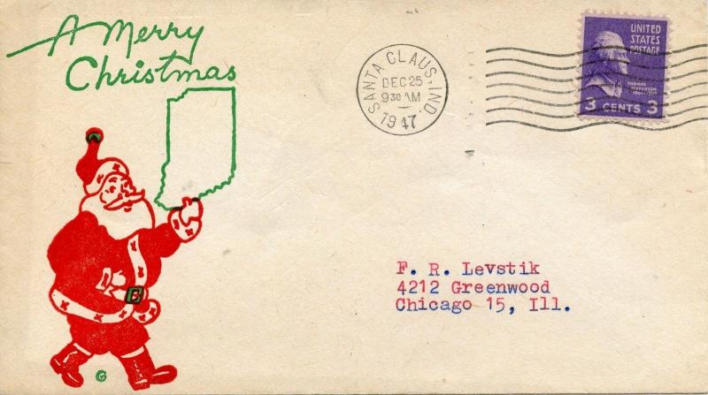 U.S. Scott 807 Prexie/Prexy on Illustrated Cover from Santa Claus Indiana