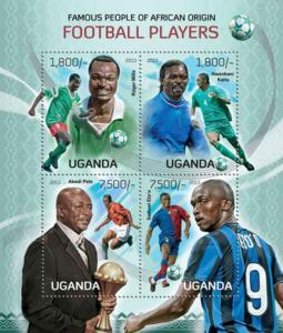 Uganda - Football Players Pele, Kanu, Eto'o - 4 Stamp Sheet - 21D-085