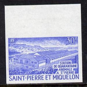 St Pierre & Miquelon 1970 Animal Quarantine 30f unmou...