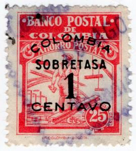 (I.B) Colombia Revenue : Postal Savings Bank 1c on 25c Surcharge