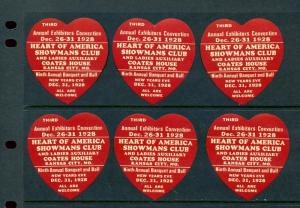 6 VINTAGE 1928 HEART OF AMERICA SHOWMANS CLUB POSTER STAMPS (L458) KANSAS CITY