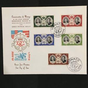 1956 Monaco Large Envelope FDC Prince Ranier-Princess Grace Wedding Sc# 366-70
