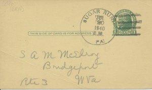 Sugar Run Pennsylvania 1940 cancel on postal card