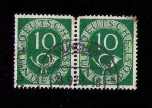 GERMANY Sc #675 Used Numeral & Post Horn Vert.Pair Very Fine