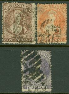 EDW1949SELL : NEW ZEALAND Scott #31, 33, 39 Used. Small faults. Catalog $165.00.