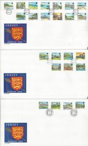Jersey 477-504 On 3 Covers  FDC Jersey Post Office