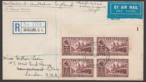 NEW ZEALAND 1940 First flight cover to London with cinderella..............57664