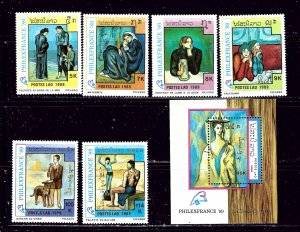 Laos 933-39 MNH 1989 Picasso Paintings