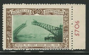 Building the Sidney Harbor Bridge, Australia,1938 Poster Stamp, Cinderella Label