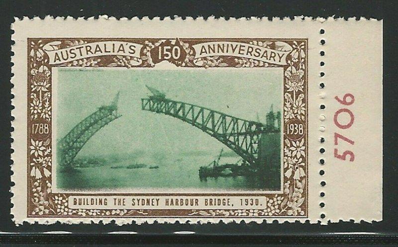 Building the Sidney Harbor Bridge, Australia,1938 Poster Stamp, Cinderella Label