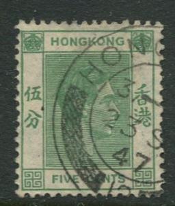 Hong Kong -Scott 157 - KGVI Definitive -1938 - FU - Single 5c Stamp