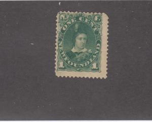 NEWFOUNDLAND # 44 FVF-MH 1cts  1887 EDWARD, PRINCE OF WALES/DEEP GREEN CAT $20