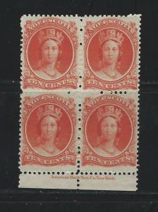 NOVA SCOTIA - #12 - 10c QUEEN VICTORIA INSCRIPTION BLOCK OF 4 (1860) MNH