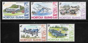 Norfolk Islands #256-260 Military Aircraft (MNH) CV$1.25