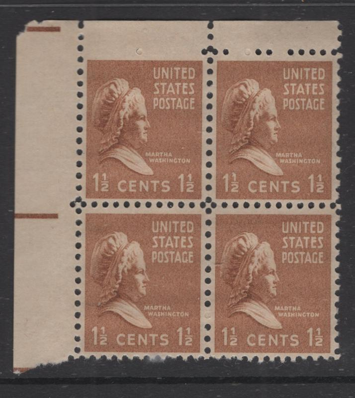 US 1938 Martha Washington Block of 4 Stamps Scott 805 MNH