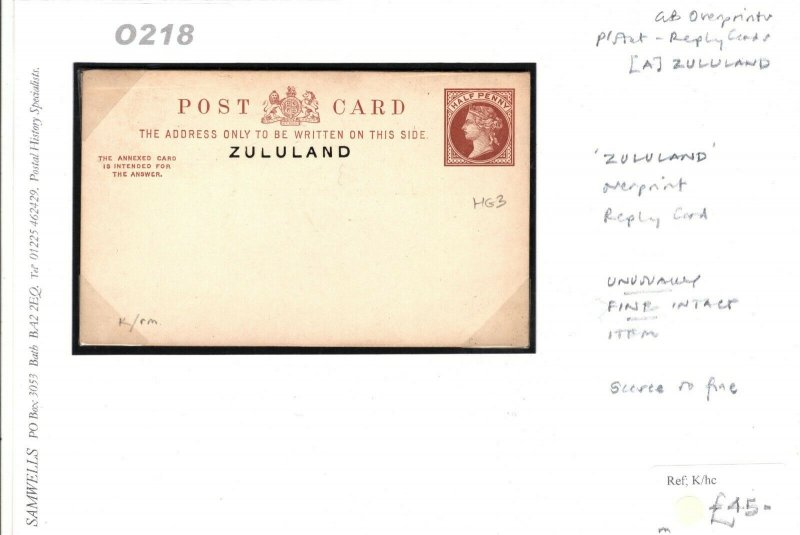 South Africa ZULULAND Overprint GB QV Stationery Reply Card{samwells-covers}O218