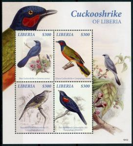 Liberia 2019 MNH Blue Ghana Cuckooshrike 4v M/S Birds Stamps
