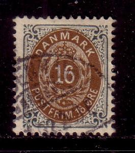 Denmark Sc 47 1895 16 ore stamp used