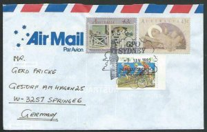 AUSTRALIA 1992 cover to Germany - nice franking - Sydney pictorial pmk.....12855