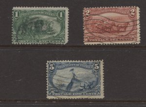 STAMP STATION PERTH US #285,286 and 288 Trans-Mississippi Expo Used