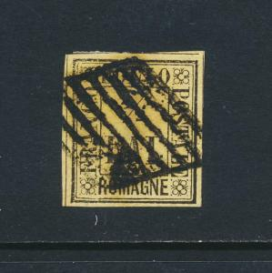 ROMANGNA ITALY 1859, ½b BLACK/STRAW VF USED Sc#1 CAT$360 (SEE BELOW)