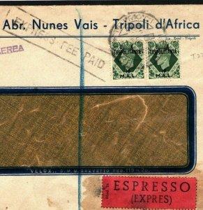 Libya BOIC *BA_TRIPOLITANIA* Overprints Unusual Franking EXPRESS GB 1950 O19b