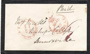CANADA 1860 Mourning cover Crowned Circle PAID AT QUEBEC in red............29188