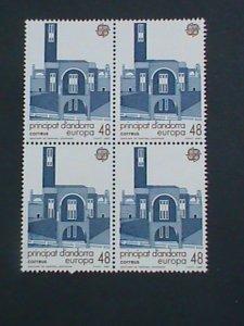 ANDORRA-SPAIN-1987 SC#179 EUROPA- SANCTUARY EXTERIOR -MNH BLOCK OF 4-VF