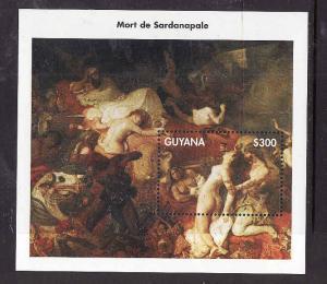 Guyana-Sc#3360-unused NH sheet-Art-Delacroix Paintings-1998-