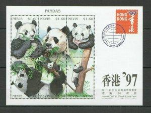 Nevis MNH S/S Panda Bears Hong Kong Expo 1997