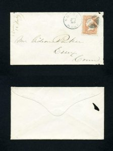 FREE SHIPPING - # 65 in XF condition cover Boston, MA to Essex, CT - 5-25-1860's