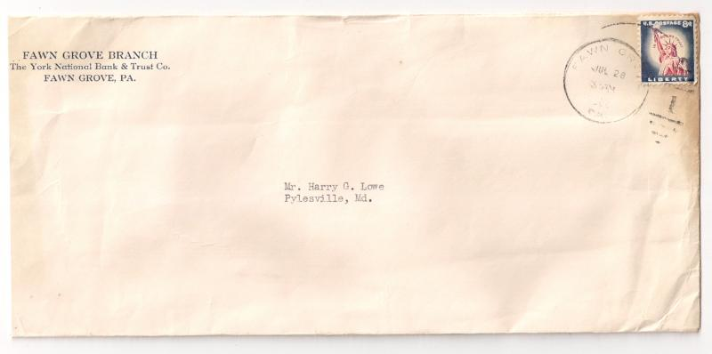 8c Liberty Flag #1042 solo use Large cover Single franking Very tough!