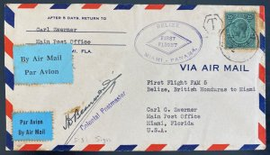 1929 Belize British Hondura First Flight Airmail Cover FFC To Miami FL USA FAM 5