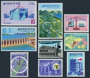 Korea South 738-746,hinged.Michel 650-655,657-659. Economic Development,1971.